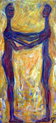 49 Lilith und Eva, 26 cm x 59 cm, Gouache, Enkaustik auf Holz, 2005 - 300 Euro