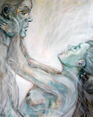 """Tanz des Lebens - weiß"", Acryl auf Leinwand, 80 cm x 100 cm, 2016"