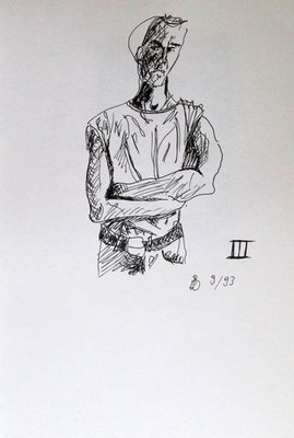 III, Tusche auf Papier, ca. 20 cm x 30 cm, 1993