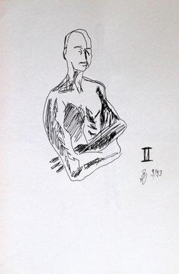 II, Tusche auf Papier, ca. 20 cm x 30 cm, 1993