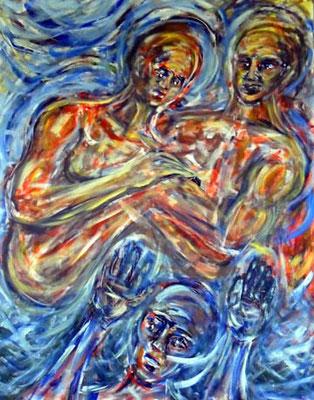 37 Im Anfang waren Erde, Himmel und Wasser, Acryl auf Baumwolle, 80 cm x 100 cm, 2010 - 1000 Euro