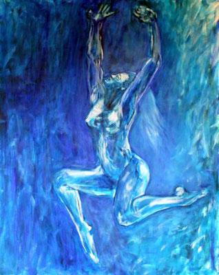 """""""Tanz des Lebens - blau"""", Acryl auf Leinwand, 80 cm x 100 cm, 2016"""