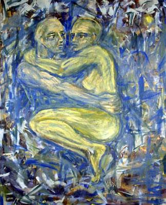 56 Hier und jetzt, 80 cm x 100 cm, Gouache auf Baumwolle, 2004 - 1000 Euro