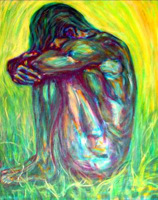"""Tanz des Lebens - grün"", Acryl auf Leinwand, 80 cm x 100 cm, 2016"