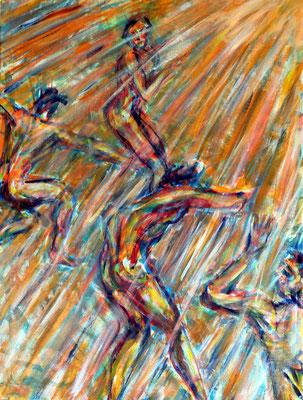 62 Tanz der Engel, Acryl auf Baumwolle, 60 cm x 80 cm, 2014 - 900 Euro