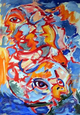 70 Wasser Erde Mensch, 70 cm x 100 cm, Acryl auf Baumwolle, 2008 - 1200 Euro
