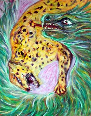 40 Jaguar und gefiederte Schlange, Acryl auf Baumwolle, 80 x 100 cm, 2012 - 900 Euro