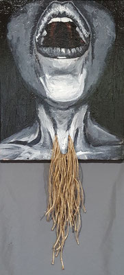 """Untitled"",33""x 16"", Mixed Media Painting, 2018"