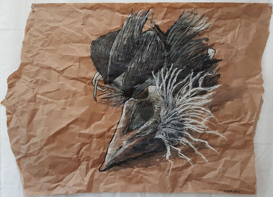 """Fledgling 1"" 24""x30"", Mixed Media on Packaging Paper, 2015"