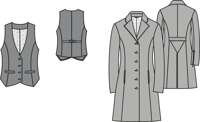 DOB Weste und Mantel Technische Zeichnung