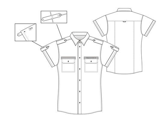 Herrenhemd Technische Zeichnung