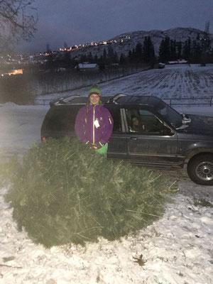 Wie kommt der Weihnachtsbaum nun nach Hause_ Teresa und ihr Gastvater schnallten ihn kurzerhand aufs Dach