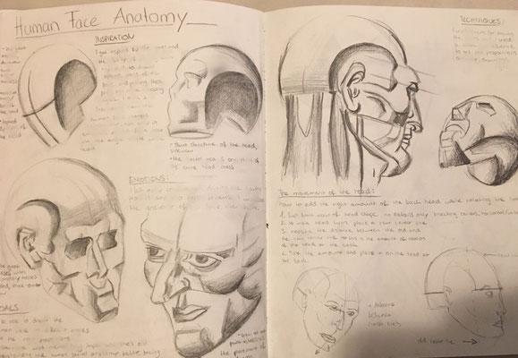 Perspektiven eines Gesichts - Tabea probiert verschiedenste Techniken aus