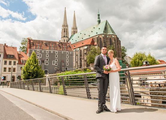 Altstadtbrücke Görlitz Hochzeit Brautpärchen