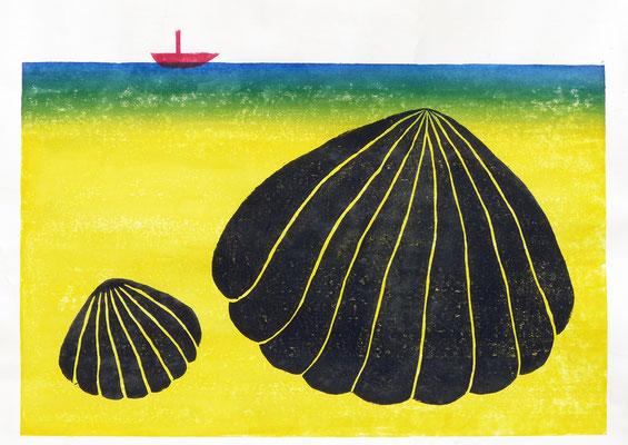 大きな貝の親子 37×44.5cm(額装サイズ) 木版画 2018