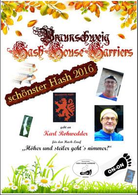 "Bester Hash 2016 ""Karl Rohwedder"""