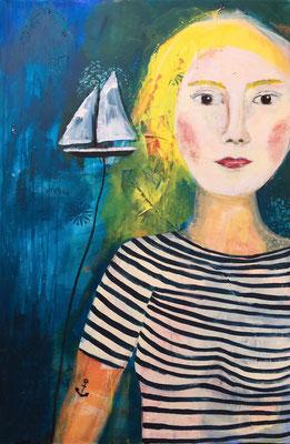 VERKAUFT Helga Stein, Die kühle Blonde, 2018, Mixed Media auf Leinwand, 80 x 120 cm