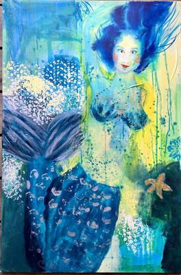 Helga Stein, Meerjungfrau, 2018, Mixed Media auf Leinwand, 80 x 120 cm