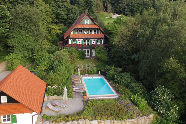 Ferienhaus Straubehof aus der Luft
