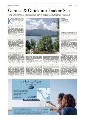 Natur und Glück am Faaker See - Frankfurter Neue Presse (August 2019)