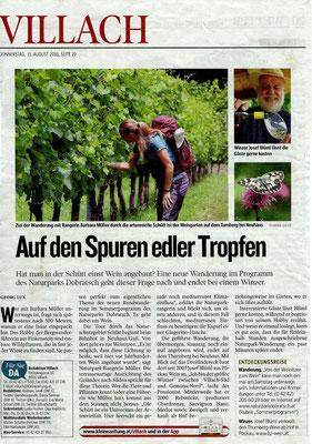Weinwanderung im Naturpark Dobratsch - Kleine Zeitung (August 2016)