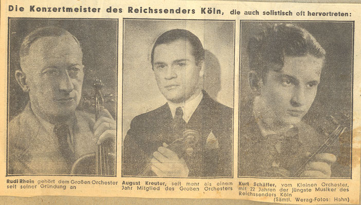 Kurt Schäffer, jüngster Konzertmeister