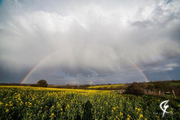 Double arc-en-ciel en direction de Bayeux (14)