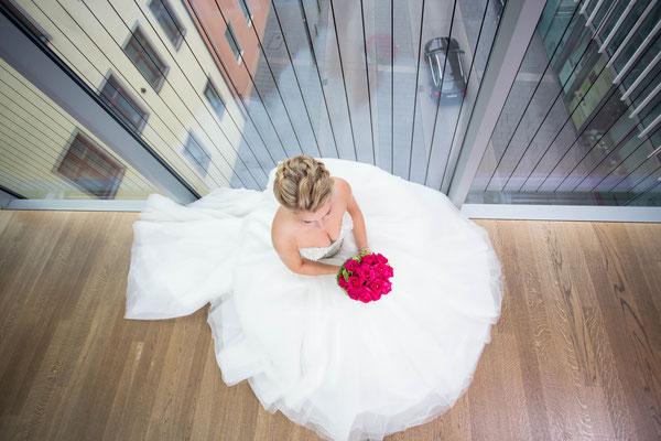 Braut, sitzen, von oben, perspektive, Hochzeit, fenster, glass