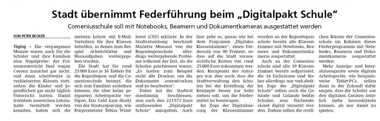 03.08.2020 - Stadt übernimmt Federführung beim Digitalpakt Schule - ovb