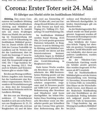 15.11.2020 - Erster Corona-Toter seit ... - pnp