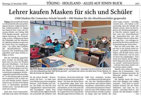 14.12.2020 - Lehrer kaufen Masken für sich und Schüler - pnp