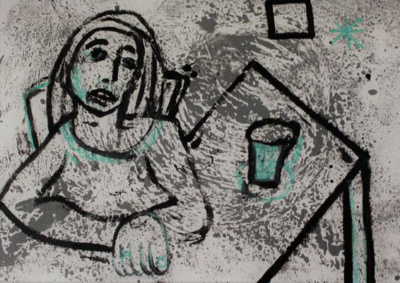 le rêve au café, 2019. 110 cm x 75 cm.