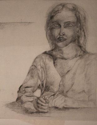 autoportrait au poing sur la table 1980