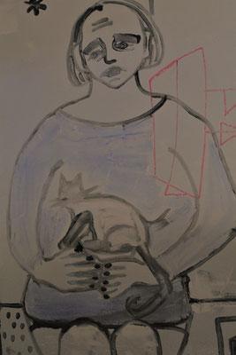 Alice et le chat et le Monde vermeil,  ou l'obésité sous traitement, 2018, 120 x 75 cm