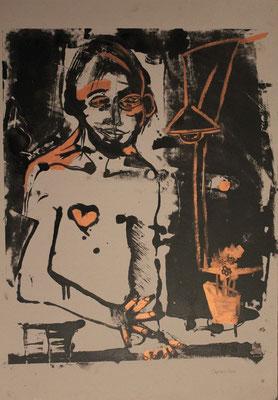 Hervé à sa table à dessin, 2015