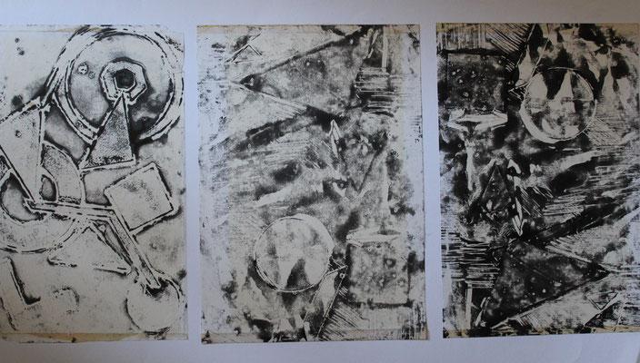 premiers monotypes, composition, atelier Clouet, 1987