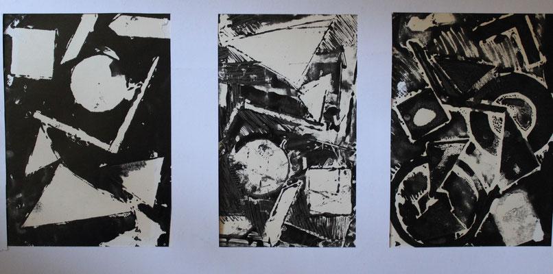 premiers monotypes, composition, atelier Clouet 1987