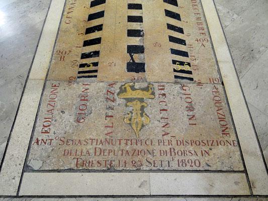 die Sonnenuhr befindet sich auf der Piazza della Borsa und ist die neugestaltete Verlängerung einer älteren Sonnenuhr im Inneren des Börsegebäudes