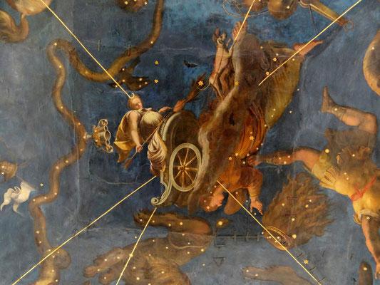 Sternenzimmer - Deckenfresko gemalt von Lorenzo Costa im Jahr 1579-1580 – stellt die Göttin Diana in ihrem Jagdwagen dar, der von Hunden über das Sternenzelt gezogen wird
