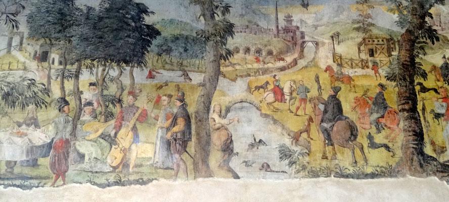 die freigelegten Fresken im Palazzo
