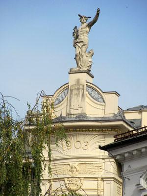 Statue des Gottes Merkur, des Beschützers der Händler