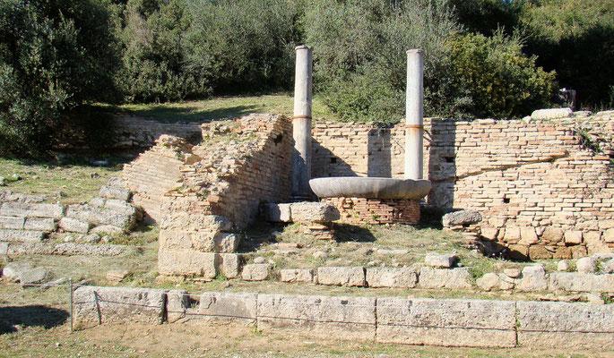 der Altar der Hera, an dem die Flamme für die modernen olympischen Spiele entzündet wird