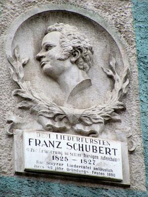 Gedenktafel an einem Haus wo Franz Schubert gewohnt hat
