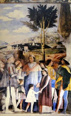 Ludwig Gonzaga (links) - Kinder Francesco und Sigismondo Gonzaga und Ludwig Erbe der Grafschaft-dahinter Kardinal Franz
