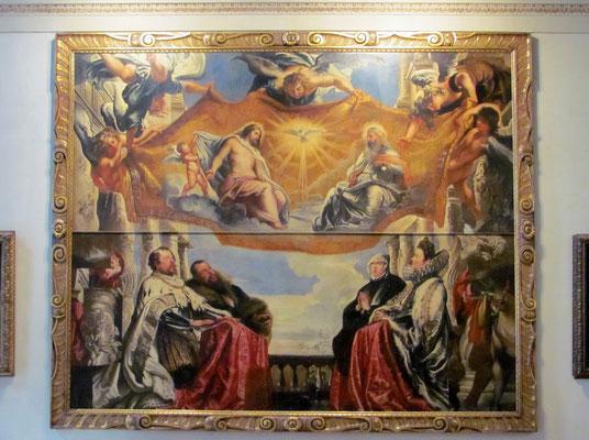 Gemälde von Rubens, das die Herzöge Guglielmo und Vincenzo Gonzaga mit  den Gattinen Eleonora von Österreich und Eleonora de' Medici während der Anbetung der Dreifaltigkeit darstellt
