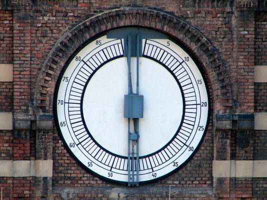 die Anzeige des Gas-Füllstandes erfolgte über die sogenannte Gasometer-Uhr