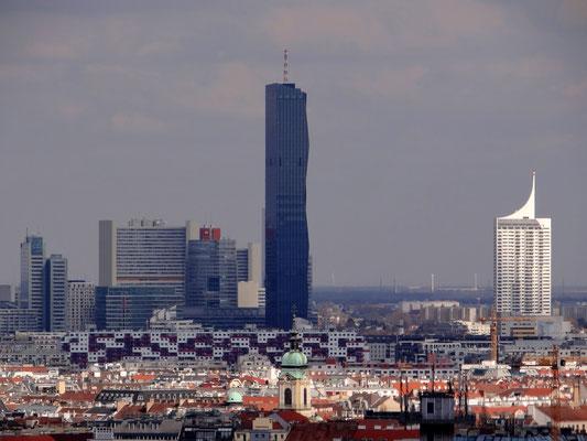 Uno-City, DC-Tower und das Hochhaus Neue Donau