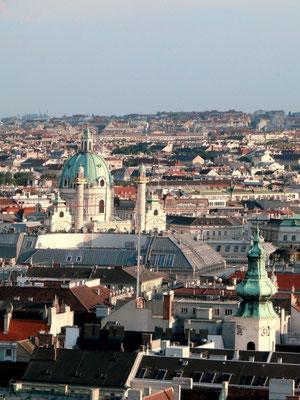 Blick von der Türmerstube zur Karlskirche