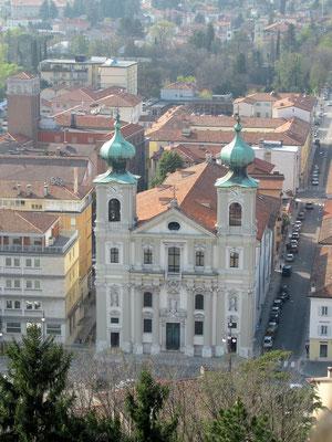 Blick von der Burg zur Kirche Kirche des Heiligen Ignatius