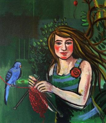 """""""Hoffnung stricken"""", Acryl auf Leinwand, 70 x 80 cm"""